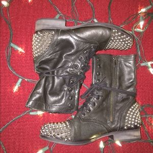 Steve Madden studded leather combat boots